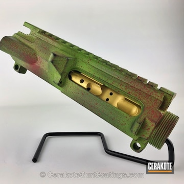 Cerakoted H-168 Zombie Green With H-190 Armor Black And H-216 Smith & Wesson Red