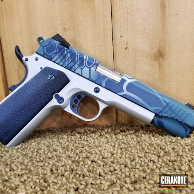 H-255 Crushed Silver with H-401 Jesse James Civil Defense Blue and H-127 Kel-Tec Navy Blue