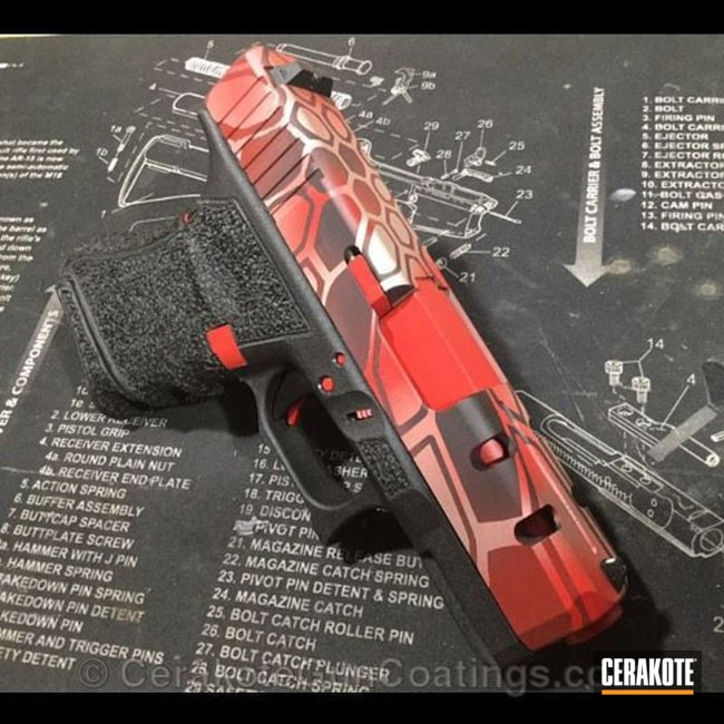 H-216 Smith & Wesson Red with H-158 Shimmer Aluminum and H-190 Armor Black