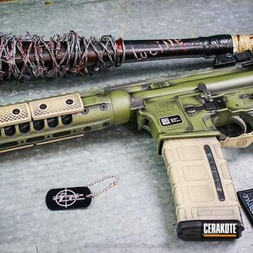Cerakoted H-189 Noveske Bazooka Green With H-146 Graphite Black And H-142 Light Sand