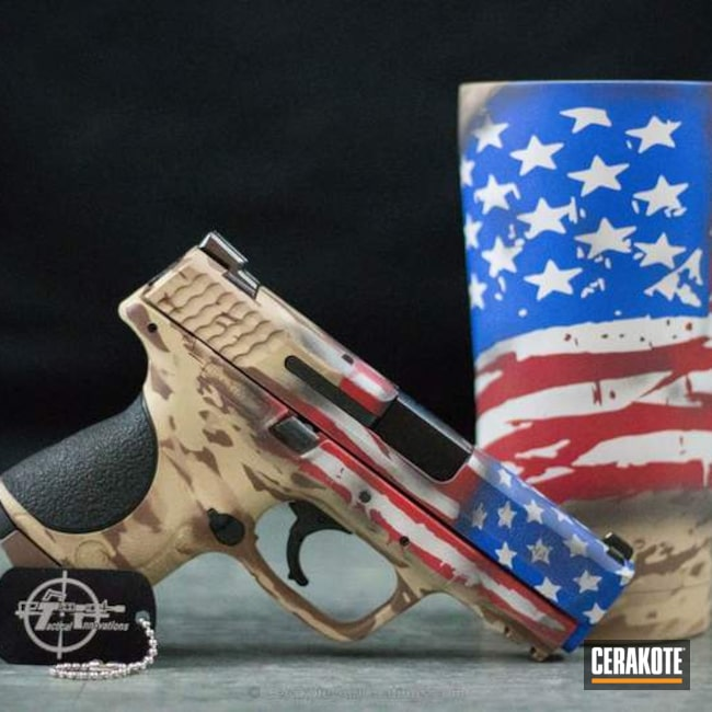 H-140 Bright White with H-216 Smith & Wesson Red and H-171 NRA Blue