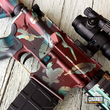 Cerakoted H-221 Crimson With H-217 Bright Purple, H-153 Shimmer Gold, H-168 Zombie Green And H-226 Patriot Brown