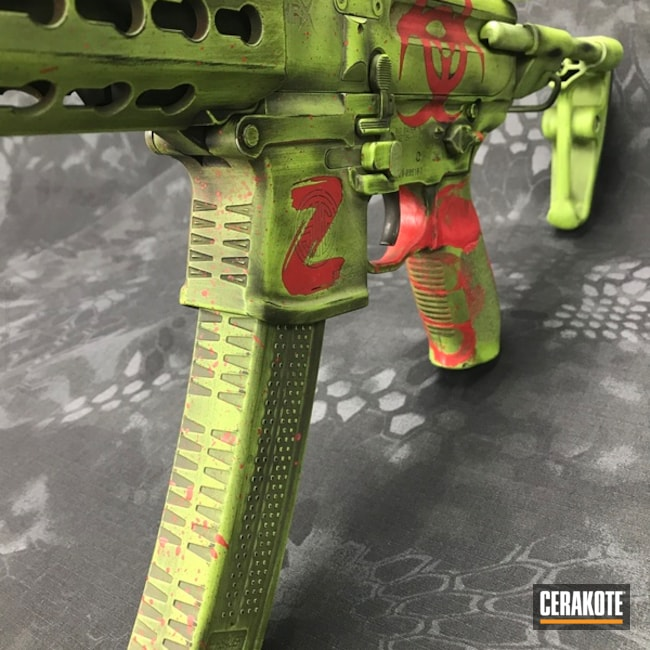 H-168 Zombie Green with H-146 Graphite Black and H-216 Smith & Wesson Red