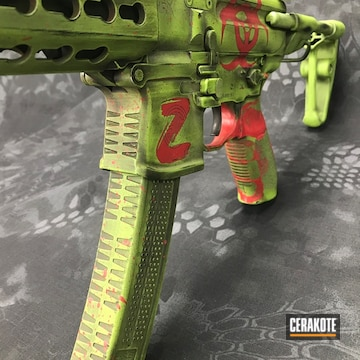 Cerakoted H-168 Zombie Green With H-146 Graphite Black And H-216 Smith & Wesson Red
