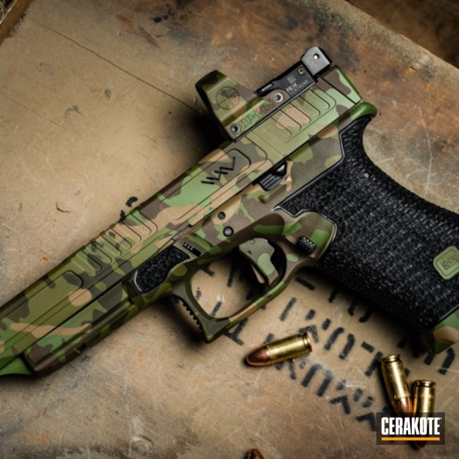 H-265 Flat Dark Earth with H-168 Zombie Green, H-226 Patriot Brown and H-240 Mil Spec O.D. Green