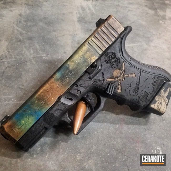 Cerakoted: Color Fade,Custom Color,Nautical Theme,Glock 10mm,Laser Engrave,Custom Pistol,Gold H-122,Shimmer Gold H-153,10mm,Glock 29,Custom,Glock,Copper Brown H-149,Custom Paint,Custom Theme,Custom Logo,Corrosion Protection,Custom Pattern,Daily Carry,Battleworn,Gloss Black H-109,Color Blend,Scuba Diving,Custom Cerakote,Glock 29 Gen 4,Sky Blue H-169