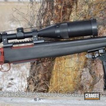 Cerakoted H-221 Crimson, H-242 Hidden White, E-120 Smoke, E-140 Jungle And E-110 Midnight