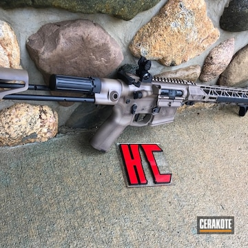 Cerakoted H-267 Magpul Flat Dark Earth, H-190 Armor Black And H-258 Chocolate Brown