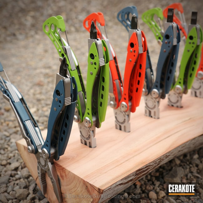 Cerakoted: Leatherman,Zombie Green H-168,More Than Guns,Hunter Orange H-128,Blue Titanium H-185,Multi Tool