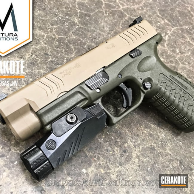 Springfield XD Handgun coated in MagPul Flat Dark Earth