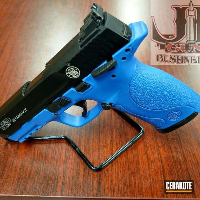 "Thumbnail image for project ""Two Tone Black/Blue Smith & Wesson M&P Handgun"""