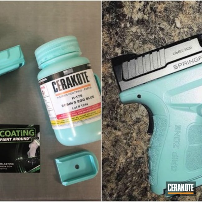 Two Tone Springfield XD Handgun coated in Cerakote's Robin's Egg Blue