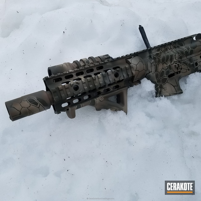 Spike's Tactical Rifle Build coated in a Cerakote Kryptek Camo Pattern