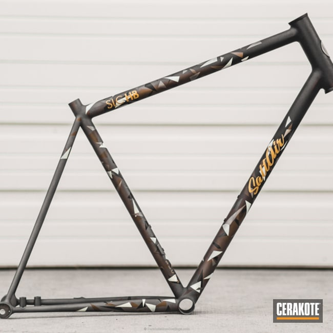 Bicycle Frame coated in a Custom Splinter Camo