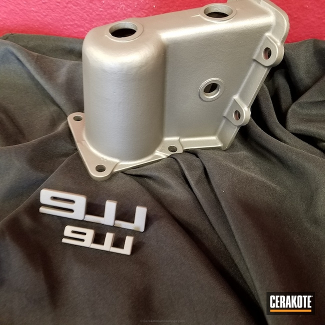 Porsche Car Part coated in Cerakote's C-129 Stainless