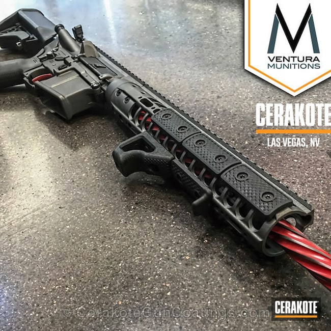 Tactical Rifle coated in Cerakote's Smith & Wesson Red and Tungsten