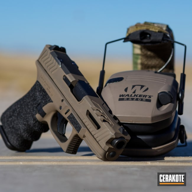 Cerakoted: Glock 19,Custom Machined,Custom,Stippled,Pistol,Glock,Machined Slide,Flat Dark Earth H-265,Handguns