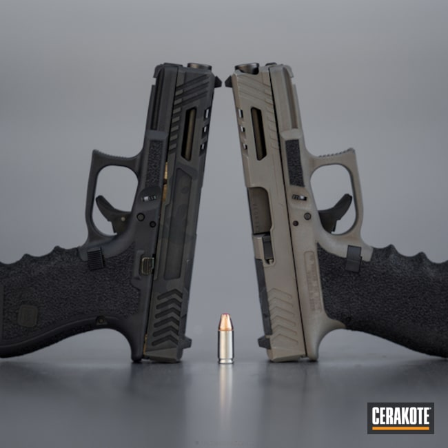 Cerakoted: Glock 19,Custom Machined,Custom,Stippled,Pistol,Glock,Machined Slide,Flat Dark Earth H-265,Handguns
