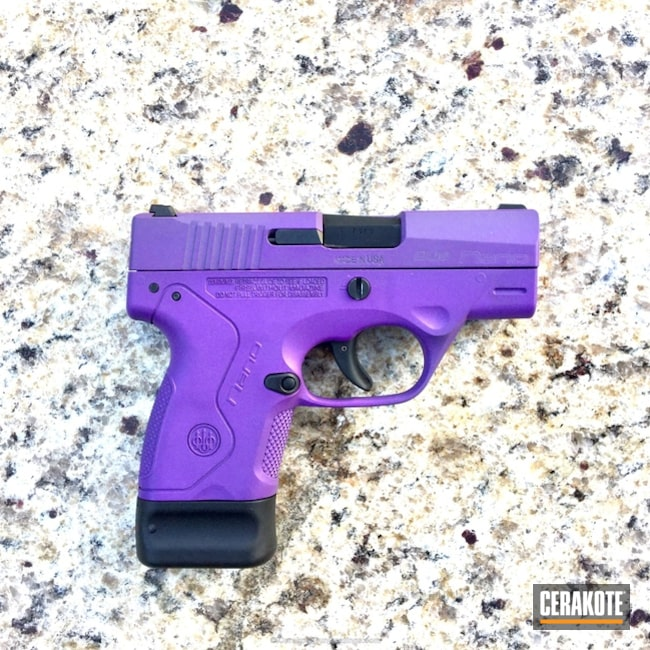 Bright Purple Cerakote Coating on this Beretta Nano Handgun