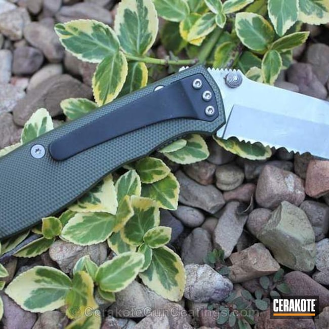 Folding Knife Cerakoted in H-240 Mil Spec O.D. Green and H-190 Armor Black