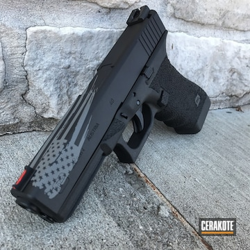 Cerakoted Glock 22 Cerakoted In H-190 Armor Black And H-214 Smith & Wesson Grey