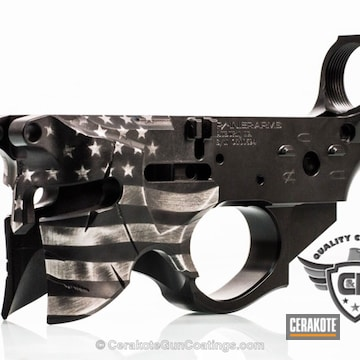 Cerakoted Spartan Helmet Lower Receiver Coated In An American Flag Theme