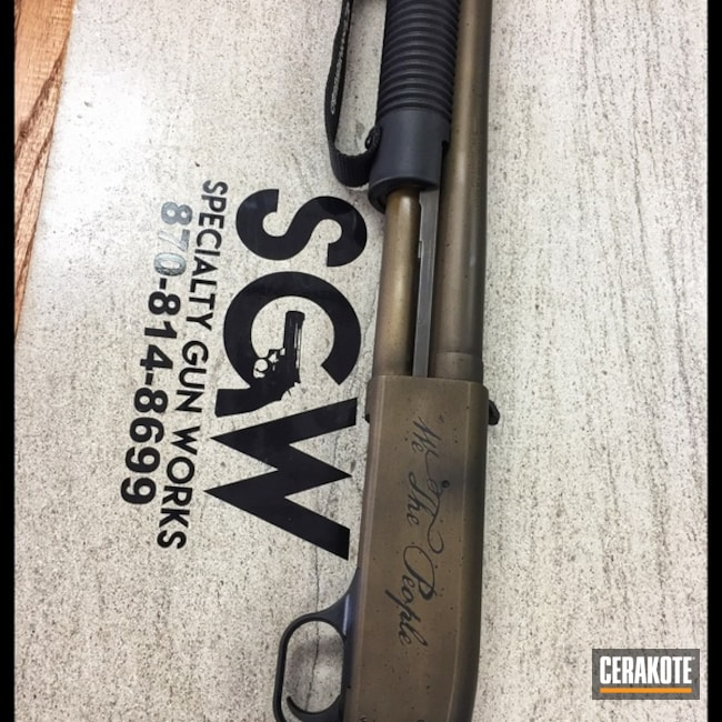 Mossberg Shotgun coated in Distressed Cerakote Finish