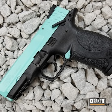 Cerakoted Smith & Wesson 22 Compact Handgun Coated In H-175 Robin's Egg Blue
