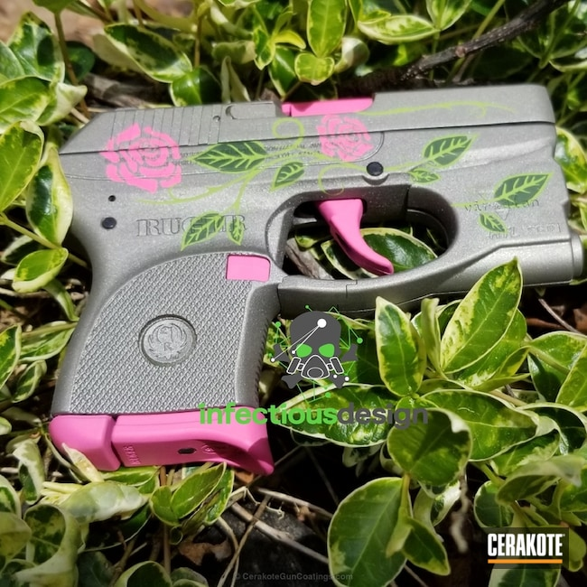 Ruger Handgun coated in Stainless, Prison Pink, Zombie Green and Highland Green