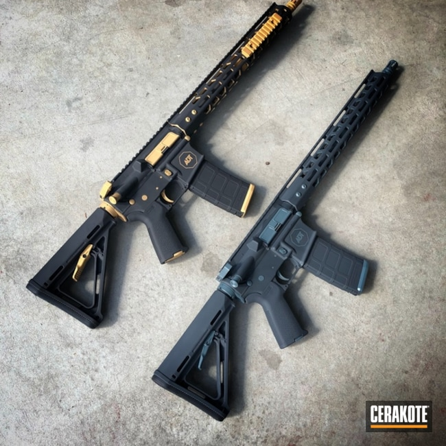A Pair of Rifles Cerakoted in a Custom Two Tone Finish