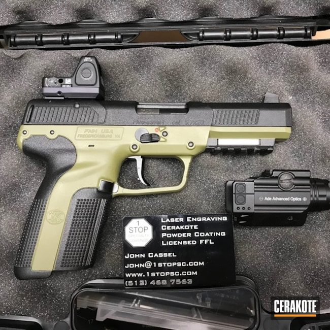 Two Tone FN57 Handgun coated in H-189 Noveske Bazooka Green