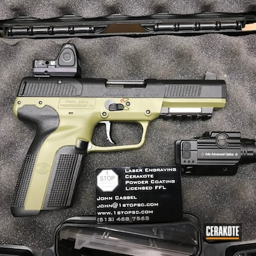 Cerakoted Two Tone Fn57 Handgun Coated In H-189 Noveske Bazooka Green