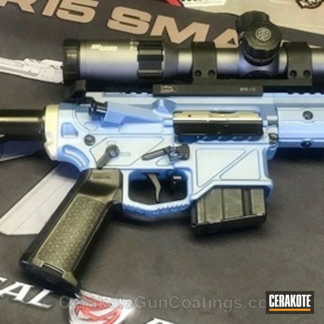 Tactical Rifle coated in a Custom Shimmer Gold and NRA Blue Mix