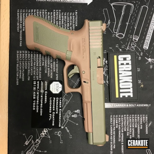"Thumbnail image for project ""Two Tone Glock Handgun coated in Federal Brown, Shimmer Gold and Sniper Green"""