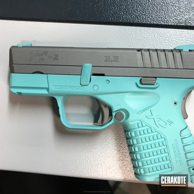 "Thumbnail image for project ""Springfield XD coated in H-152 Stainless and H-175 Robin's Egg Blue"""