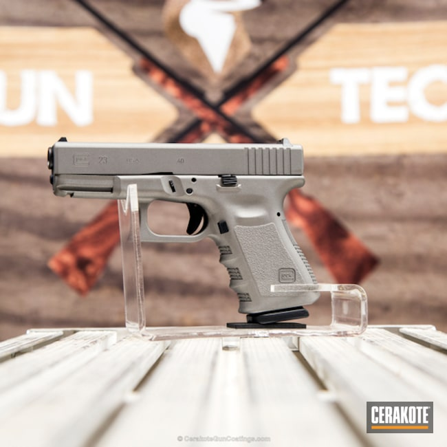 Cerakoted Glock 23 Pistol Done In H-152 Stainless