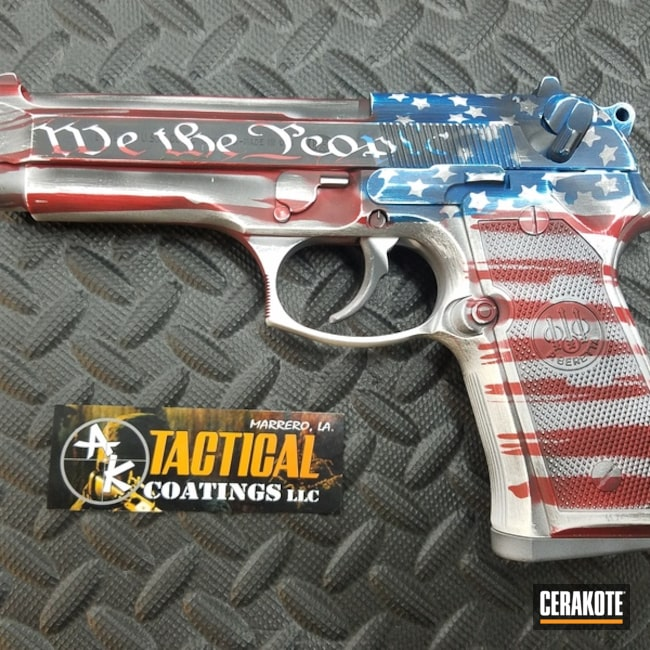 Beretta 92FS Handgun done in a Worn American Flag Cerakote Finish