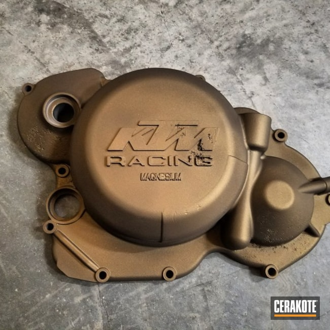 KTM Engine Cover coated in a Burnt Bronze Finish