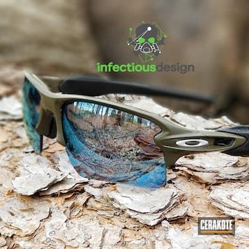 Cerakoted Custom Oakley Sunglasses Finished In H-229 Sniper Green And H-151 Satin Aluminum