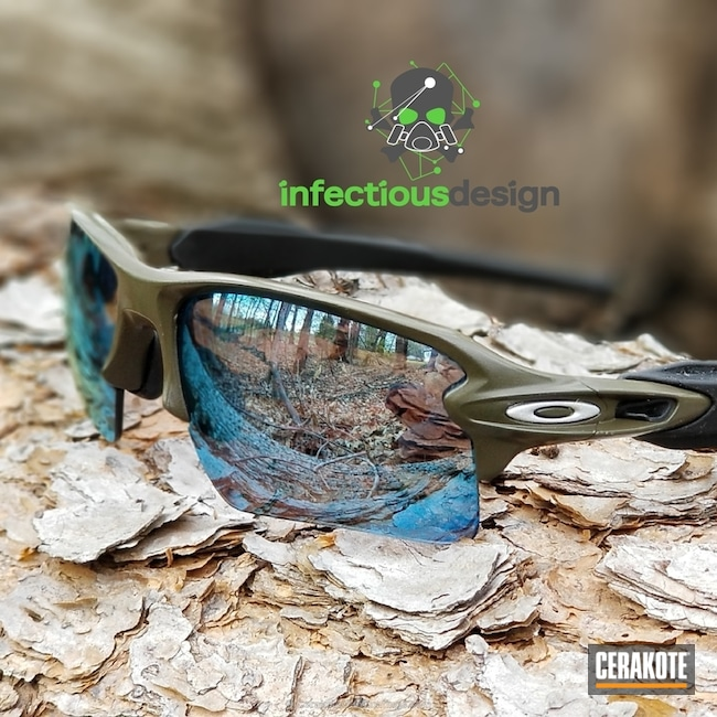 Cerakoted Custom Oakley Sunglasses Finished In H-229 Sniper Green And H-151 Satin Aluminum