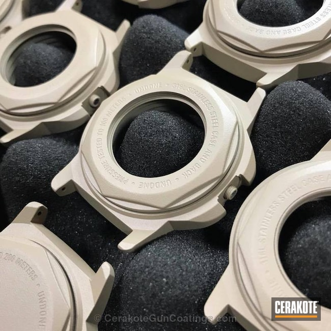 Cerakoted Undone Watch Cases Finished In H-199 Desert Sand