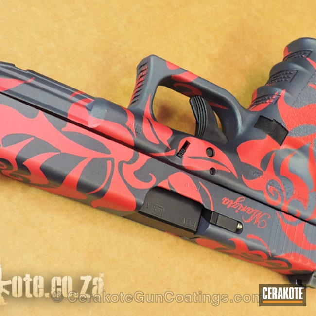 Glock 19 Handgun in a Ladies Tribal Themed Finish