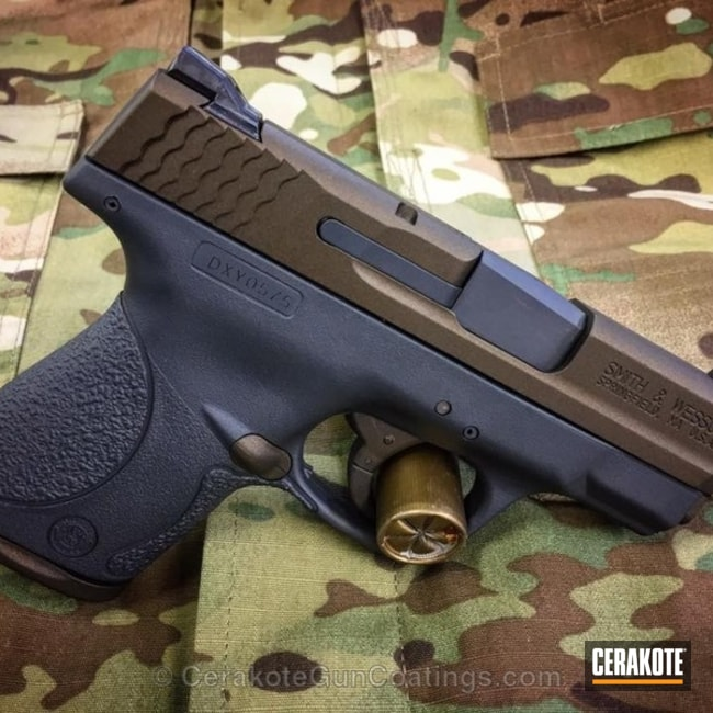 Two Toned Smith & Wesson Handgun in H-234 Sniper Grey and H-148 Burnt Bronze