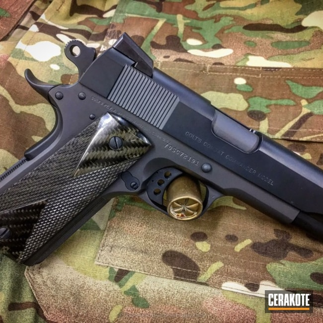 Two Toned 1911 Handgun in H-245 Socom Blue and H-234 Sniper Grey