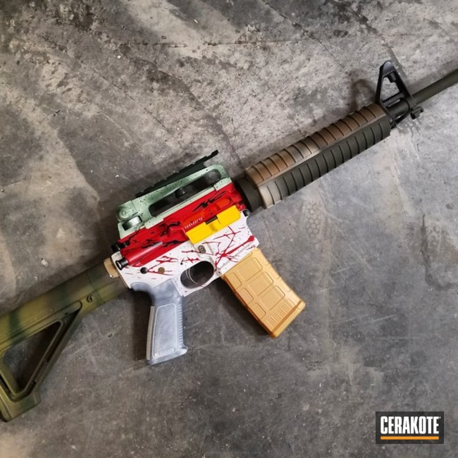 Customized Rifle coated in an assortment of Cerakote Finishes