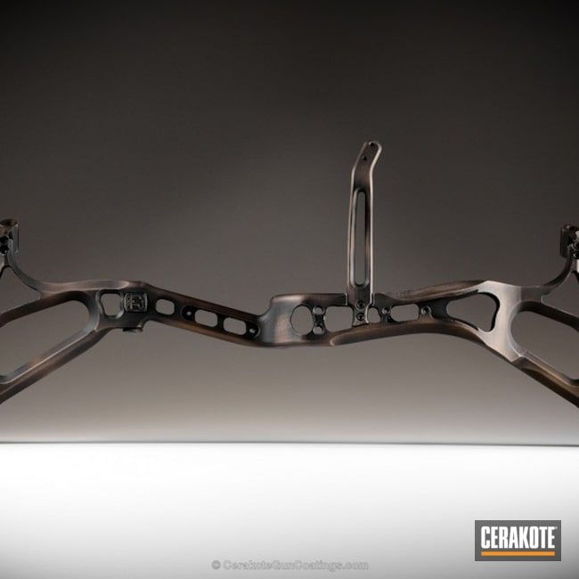 Bow coated in H-146 Graphite Black and H-148 Burnt Bronze