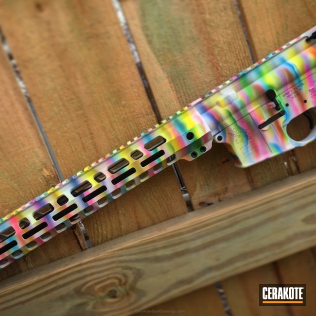 Spike's Snowflake Rifle Build coated in a Colorful Rainbow Theme