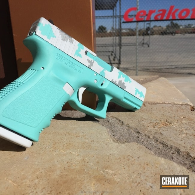 Mobile-friendly version of the 1st project picture. Glock, Glock 19, Pistol, Ladies, Digital Camo, Bright White H-140Q, Robin's Egg Blue H-175Q, Crushed Silver H-255Q