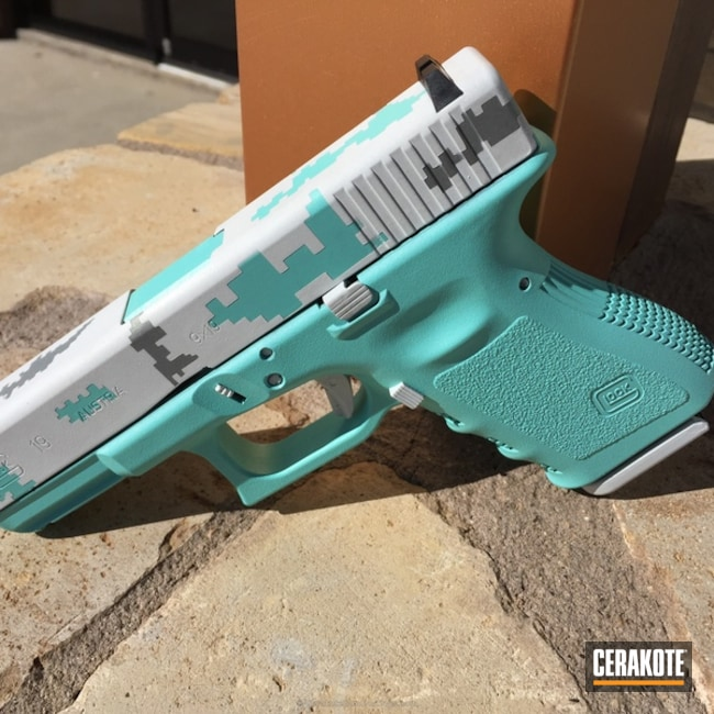 Mobile-friendly version of the 3rd project picture. Glock, Glock 19, Pistol, Ladies, Digital Camo, Bright White H-140Q, Robin's Egg Blue H-175Q, Crushed Silver H-255Q
