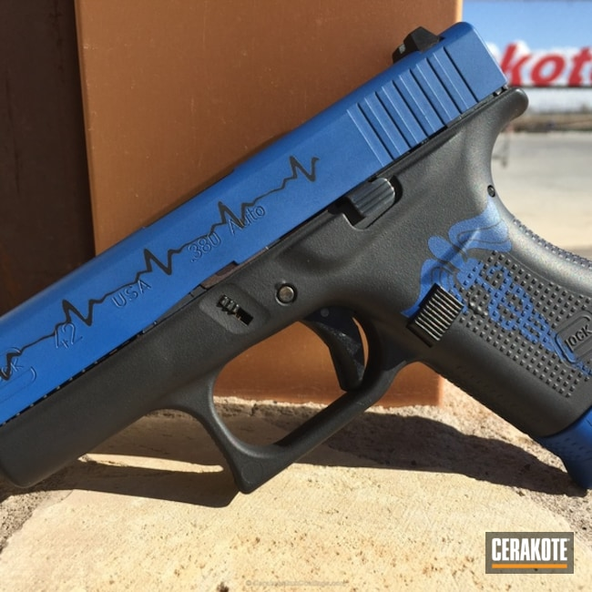 EMT Heartbeat Themed Glock 42 Handgun coated in Graphite Black and NRA Blue